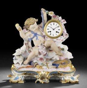 Continental Biscuit Porcelain Figural Clock