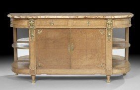 Louis XVI-Style Fruitwood Marble-Top Cabinet