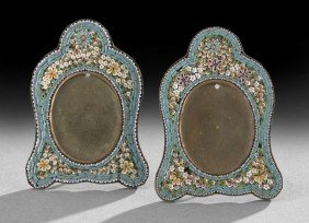 Pair Of Continental Micro-Mosaic Picture Frames
