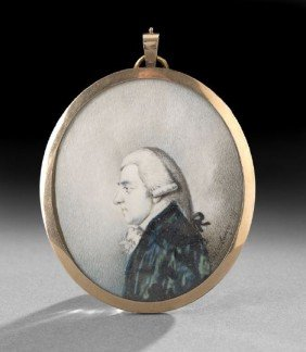 Miniature Portrait On Ivory Of A Gentleman