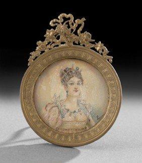 Continental Portrait Miniature Of A Lady
