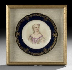 Sevres Cabinet Plate Depicting Madame DuBarry
