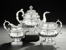 American Three-Piece Coin Silver Tea Set