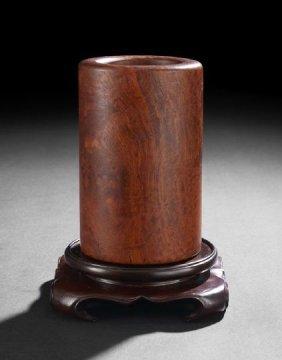 Chinese Burled Paduk Wood Brush Pot