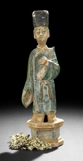 Chinese Glazed Pottery Figure Of A Court Official