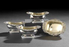 Set Of Four Regency Sterling Silver Salt Cellars