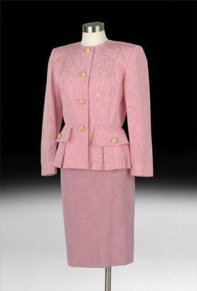 Nina Ricci, Paris, Pink Silk Moire Suit