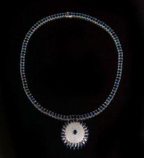 14 Kt. Gold, Sapphire & Diamond Pendant Necklace
