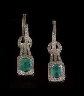 14 Kt. Gold, Emerald & Diamond Drop Earrings