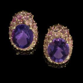 18 Kt. Gold, Amethyst And Tourmaline Earrings