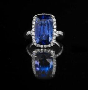 14 Kt. White Gold, Tanzanite And Diamond Ring