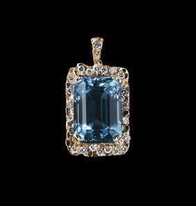 18 Kt. Gold, Aquamarine And Diamond Pendant