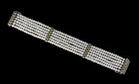 14 Kt. Gold, Pearl, Peridot And Diamond Bracelet