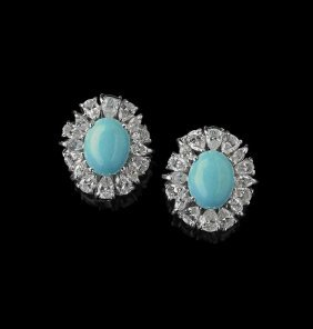 18 Kt. White Gold, Turquoise And Diamond Earrings