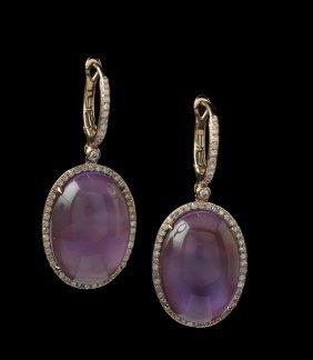 Pair Of 14 Kt. Gold, Amethyst & Diamond Earrings