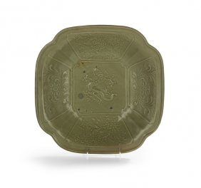 Chinese Longquan Celadon Cut-corner Bowl