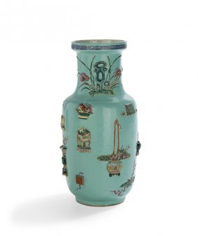 Chinese Famille Rose Porcelain Rouleau Vase