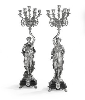 Pair Of Monumental Silvered Bronze Candelabra