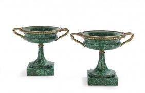 Pair Of Gilt-bronze-mounted Malachite Urns