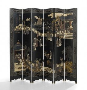 Chinese Six-panel Lacquer Folding Screen
