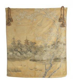 Large Japanese Couched Silk Embroidered Panel