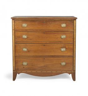 American Federal Walnut And Inlaid Chest