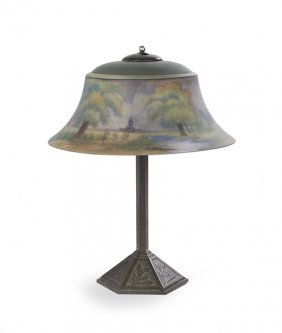 Handel Table Lamp With Reverse-painted Shade