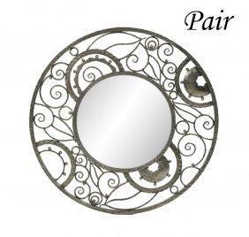 Pair Of Art Deco-style Metal Circular Mirrors