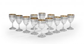 "12 International ""wedgwood"" Silver Wine Goblets"