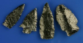 4 Excellent Obsidian Arrowheads