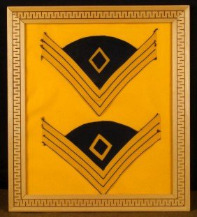 FRAMED PAIR CIVIL WAR UNION CAVALRY SARGEANTS CHEVRONS