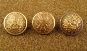 3 Civil War Original Small Gilt Buttons Horstmann Bros