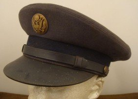 OLD UNITED STATES MILITARY VISOR HAT AND CHINSTRAP