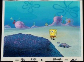 Original SpongeBob Animation Cel & Background Wandering