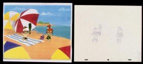 Drawing Original Bam Bam Pebbles Production Cel Playing
