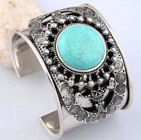 Turquoise And Silver Bangle Cuff Bracelet Mwf2027