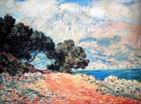 Cap Martin By Monet Numbered Giclee 17x22 1/2 On Canvas