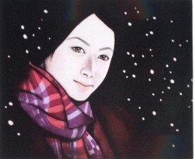 Kaoru Saito SNOWY NIGHT Mezzotint Japanese Art Print