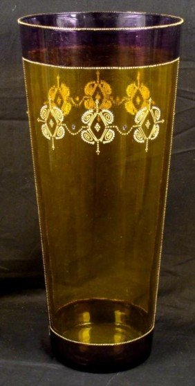 Milan Tall Hand Painted Art Glass Vase Yellow & Purple