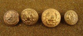4 Civil War Naval Original Gilt Buttons Eagle, Anchor