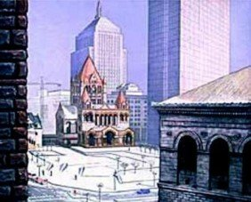 Richard Haas Signed Numbered COPLEY SQUARE Art Print