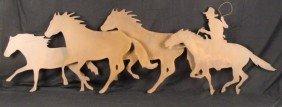 Large Cowboy & Horses Metal Wall Art Sculpture