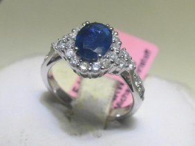 1.44 CT Blue Sapphire And .53 CT Diamonds Ring