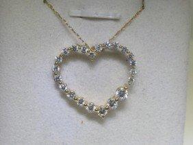All Diamonds 18K Yellow Gold Heart Design Pendant Chain