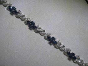 7.28 CT Blue Sapphire, .35 CT Diamonds 14K WG Bracelet