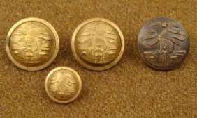 4 Iowa State Original Post Civil War Military Buttons