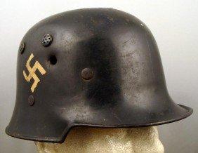 WWII Nazi 2 Decal Police Helmet W/ Bullet Holes