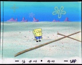 Original SpongeBob Animation Cel, Background Rope Jump