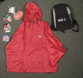 Coca Cola Lot- Backpack Coasters Pins Jacket Polar Bear
