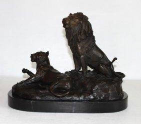 Beautiful Bronze Sculpture Lion & Lioness